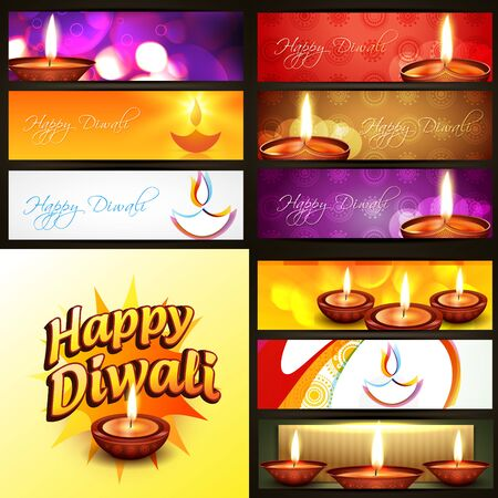 diwali: vector set of diwali banner in different style and background illustration