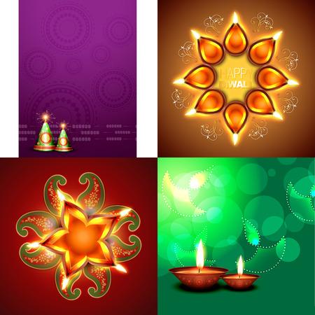 rangoli: vector set of happy diwali background with crackers and decorated diya placed on rangoli illustration