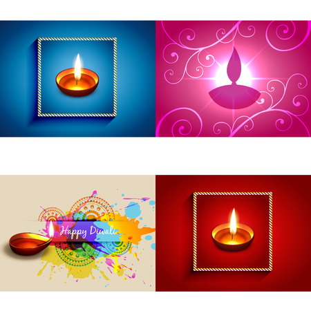auspicious element: vector collection of diwali diya background illustration with colorful grunge and floral