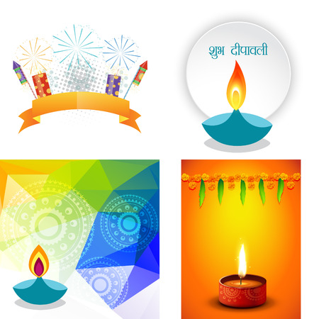 shubh: vector collection of different types of diwali background with decorated diya and crackers, shubh deepawali (translation: happy diwali)