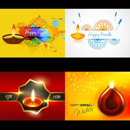 vector collection of diwali background with attractive diya, shubh deepawali (translation: happy diwali)