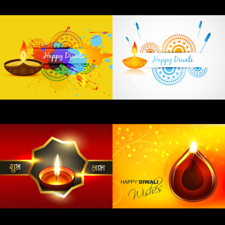 diwali: vector collection of diwali background with attractive diya, shubh deepawali (translation: happy diwali)