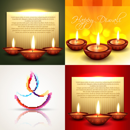 diya: vector collection of different types of diwali background with decorated diya