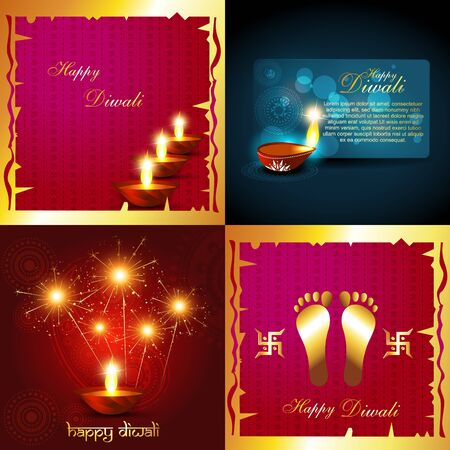 diyas: vector collection of diwali holiday background with burning diyas and fireworks illustration Illustration