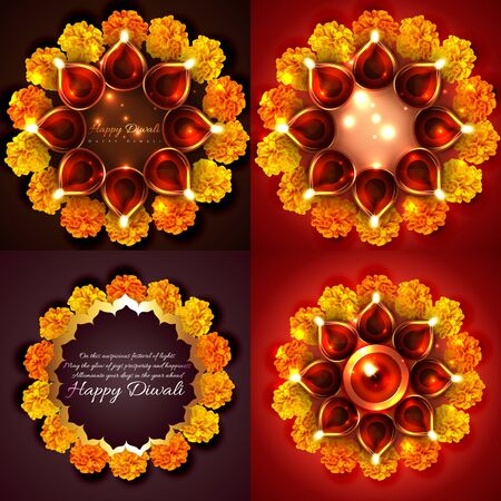 diya: vector collection of decorated diwali diya with flowers background illustration