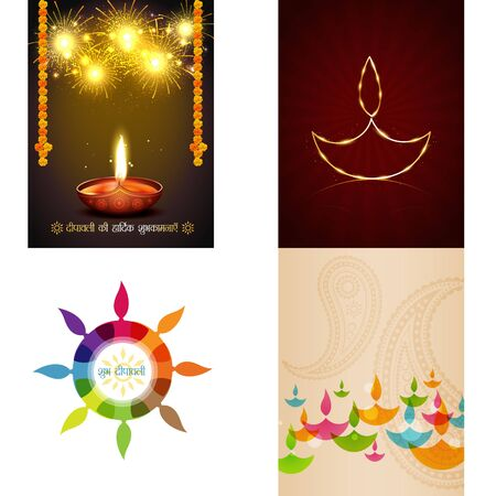 ki: vector set of different style diwali background illustration with colorul diya, deepawali ki hardik shubkamnaye (translation: happy diwali greetings)