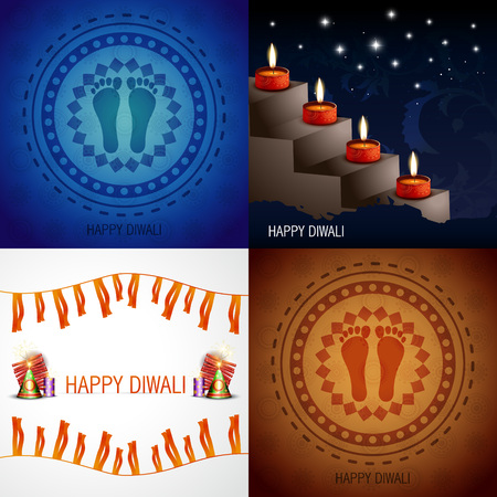auspicious element: vector set of hindu festival diwali background with decorated diya placed on stair, crackers and footprint placed on rangoli illustration
