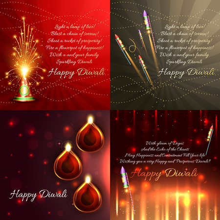 crackers: vector set of diwali background with crackers and beautiful diya illustration
