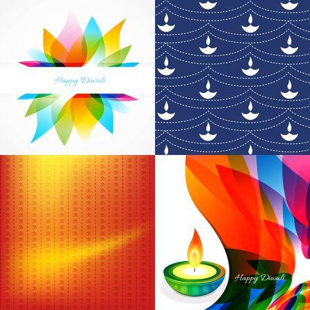 diwali: vector set of diwali holiday background with colorful diya, leaf illustration