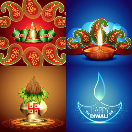 auspicious element: vector collection of different types of diwali background with decorated diya and crackers