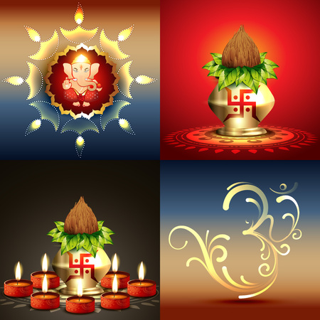 vector set of diwali background with lord ganesha and diwali diya illustration