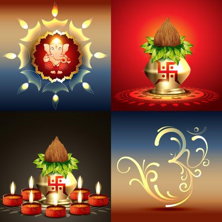 ganesha: vector set of diwali background with lord ganesha and diwali diya illustration