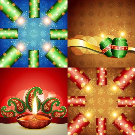 crackers: vector collection of diwali festival background with crackers and diya