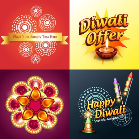 diwali celebration: vector set of diwali background in different style and illustration