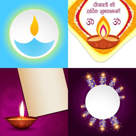 ki: vector set of simple background of diwali with crackers, deepawali ki hardik shubkamnaye (translation: happy diwali greetings)