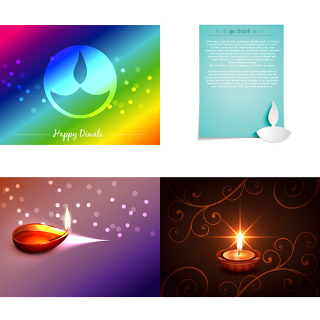 auspicious element: vector set of diwali background with diwali diya illustration, shubh deepawali (translation: happy diwali) Illustration