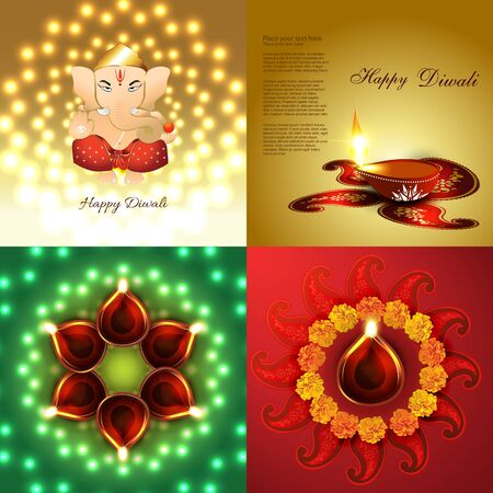 auspicious element: vector set of diwali holiday background illustration with decorated diya placed on rangoli and lord ganesha illustration