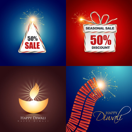 worship: vector collection of beautiful diwali background with crackers and diya illustration Illustration