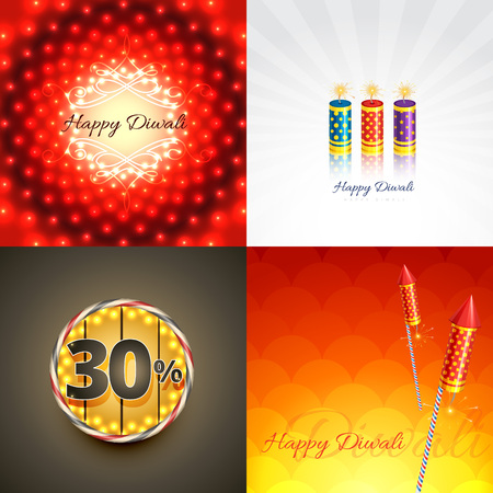 pray: vector set of diwali background with crackers and creative abstract illustration