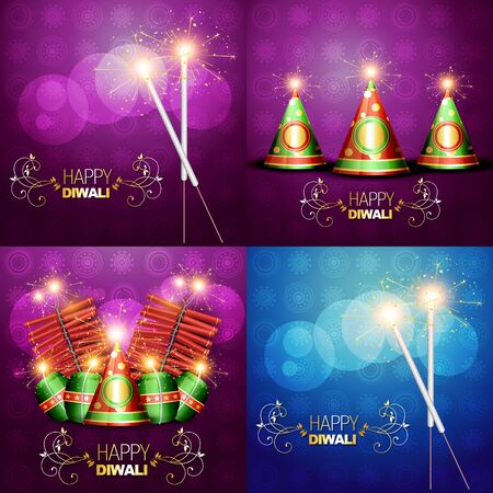 festival vector: vector collection of diwali festival background illustration with crackers