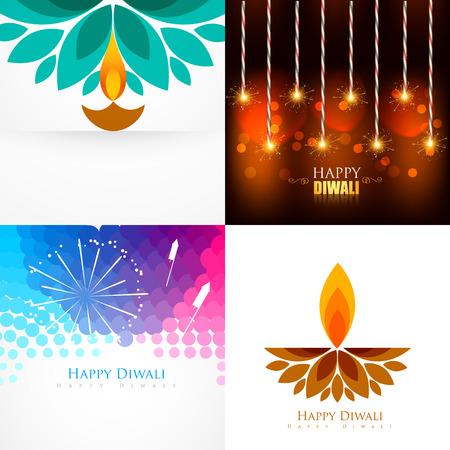 vector collectie van Diwali achtergrond met creatieve diya en crackers illustratie Stock Illustratie
