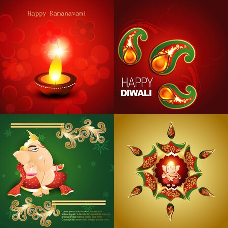 rangoli: vector collection of happy diwali background with lord ganesha, decorated diya in floral design and rangoli illustration