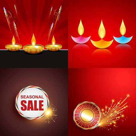 crackers: vector set of diwali background with crackers and colorful diwali diya illustration Illustration