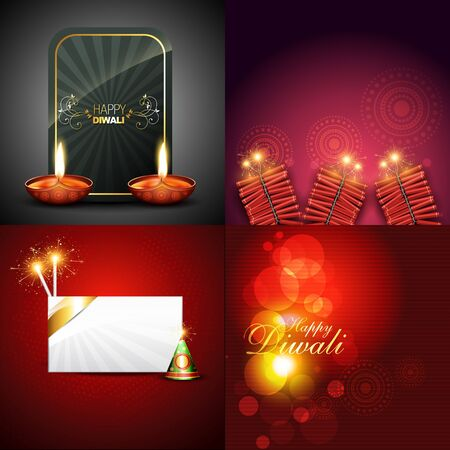 crackers: vector collection of beautiful diwali background with crackers and diya illustration Illustration