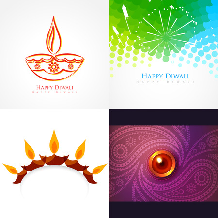 auspicious element: vector collection of diwali background illustration with creative design Illustration