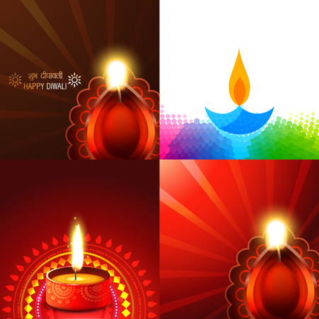 vector set of beautiful different design of diwali diya background illustration, subh deepawali( translation: happy diwali ) Illustration