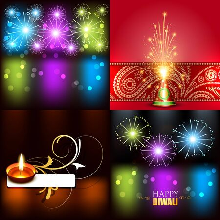 crackers: vector collection of beautiful background of diwali with crackers