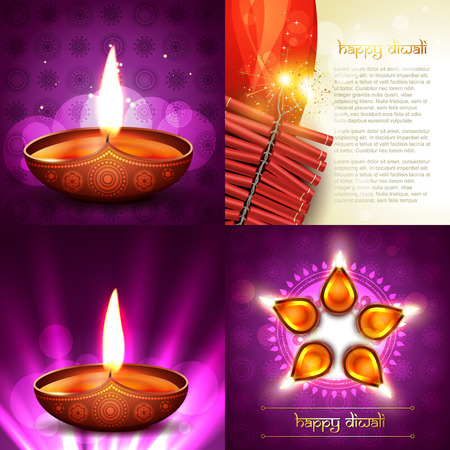 worship: vector set of happy diwali background illustration with decorated diya placed on rangoli and crackers