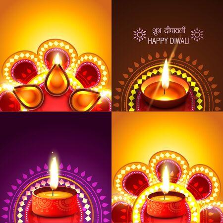 vector beautiful set of diwali background illustration, shubh deepawali (translation: happy diwali)