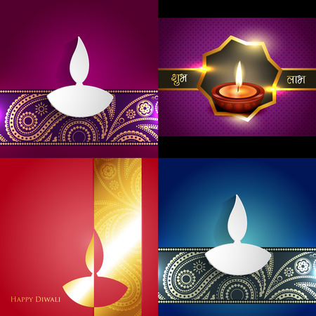 shubh: vector collection of different types of diwali background illustration, shubh deepawali (translation: happy diwal i) Illustration