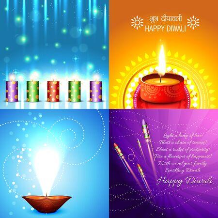 deepawali: vector collection of beautiful diwali background illustration, shubh deepawali (translation: happy diwali) Illustration