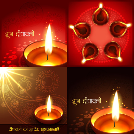 auspicious element: vector set of beautiful diwali background illustration, shubh deepawali (translation: happy diwali) and deepawali ki shubkamnaye (translation: happy diwali greetings) Illustration