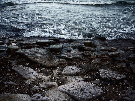 stomy: stormy sea waves on the rocks on the rocks