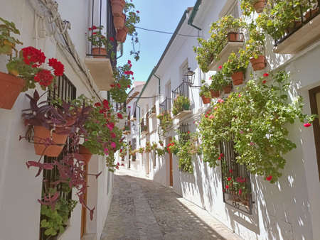 Beuautiful streets full of flowers in old town of Priego de Córdoba Andalusia Spain