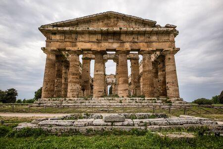architrave: Paestum Neptune Temple Stock Photo
