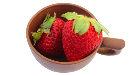 brown cup and Strawberrys Stock Photo - 16757171
