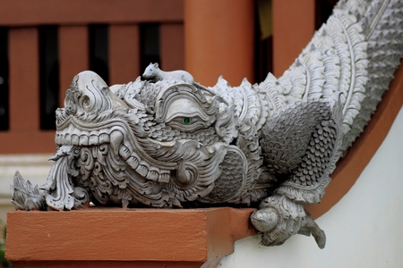 Image of dragon statue at thai temple photo