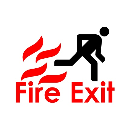 Metallic plate with fire symbol, arrow showing to right, and the text fire exit written with capital letters photo