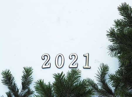 New Years greetings. Fir branches are laid out on a background with a place for text. 免版税图像