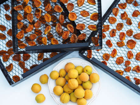 Dried fruit harvesting season. Dried apricot chips. Organic, natural, healthy food.