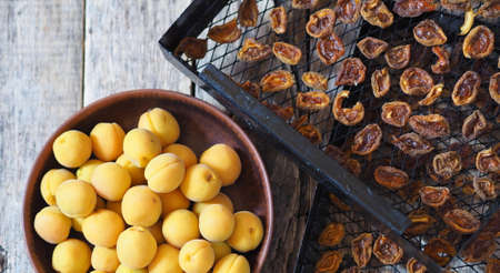 Procurement of dried apricots for future use.Dried apricots in a rack from the dryer with fresh fruits on a wooden natural table.