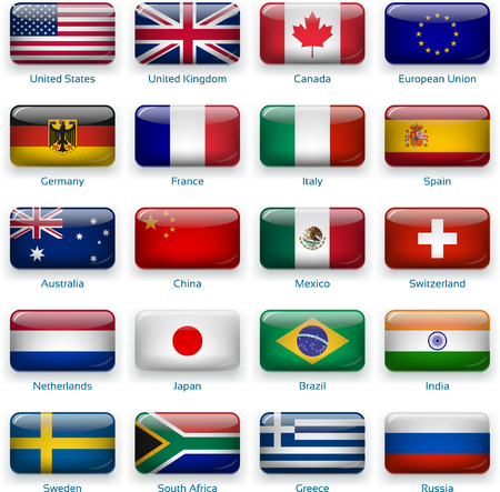 Vector icons of flags. 20 Popular countries of the world in glossy mode