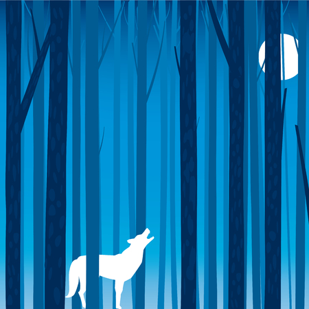 Silhouette of the howling wolf. Inside of it is a mysterious night forest with a moon. Vector illustration. Illustration