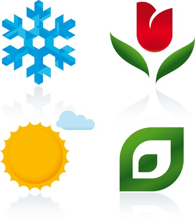 Vectorial icons of four seasons in clean style. Glossy style with shadows and lights