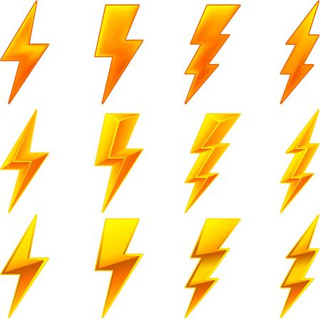 Vector set of electric bolt symbols.