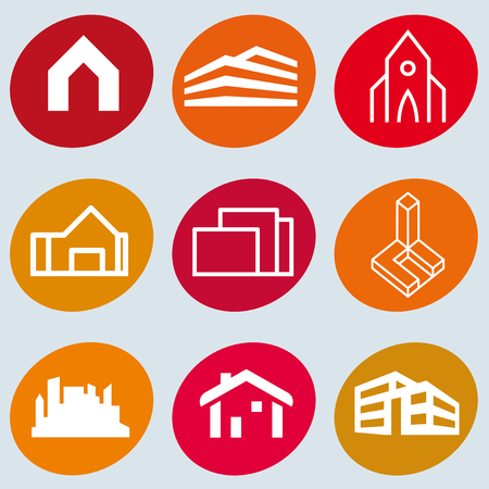 Set of 9 construction buildings and houses icons.